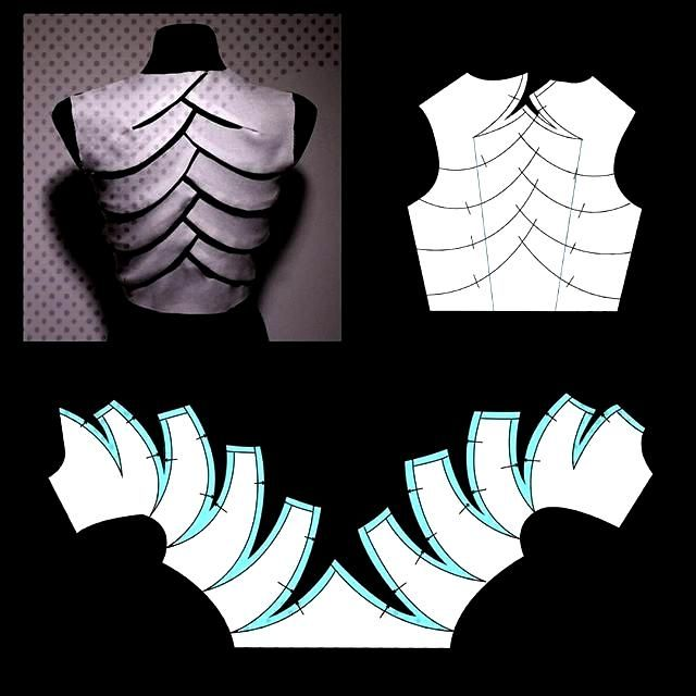 The alternative bamboo bodice pattern. Instead of folds there are  seams and this gives the possibi
