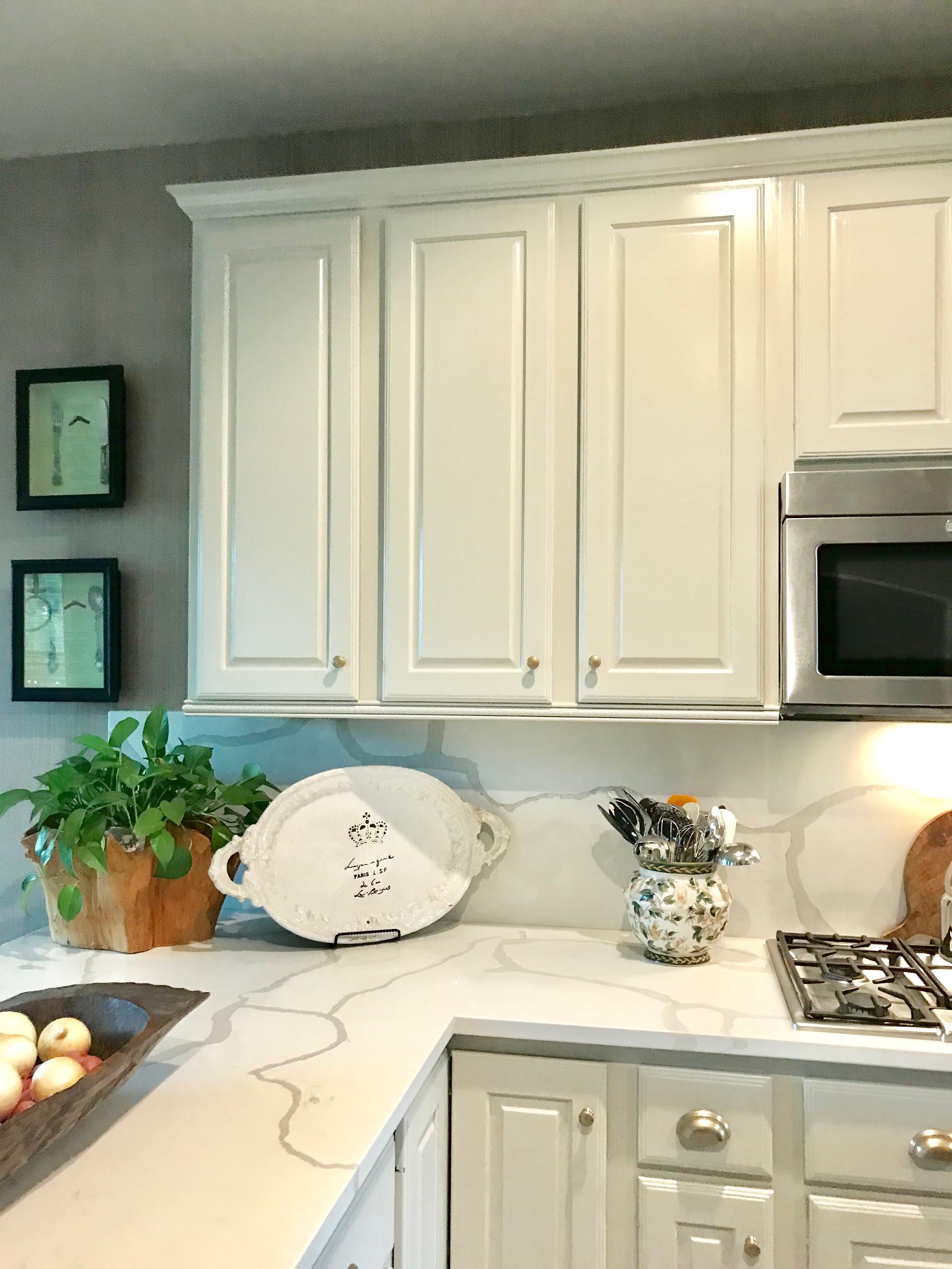 Oak Cabinets Painted In Revere Pewter Light Grey With A Black Island Painting Cabinets Oak Cabinets Pewter Lighting