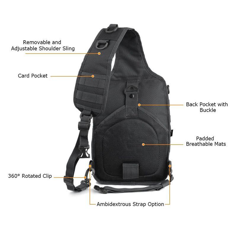 Outdoor Military Tactical Sling Backpack Army Molle Waterproof EDC Rucksack Bag