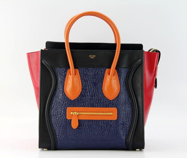 64320c16b0 Celine Mini Luggage in Black Red Orange Smooth Calfskin and Blue Elephant  Leather