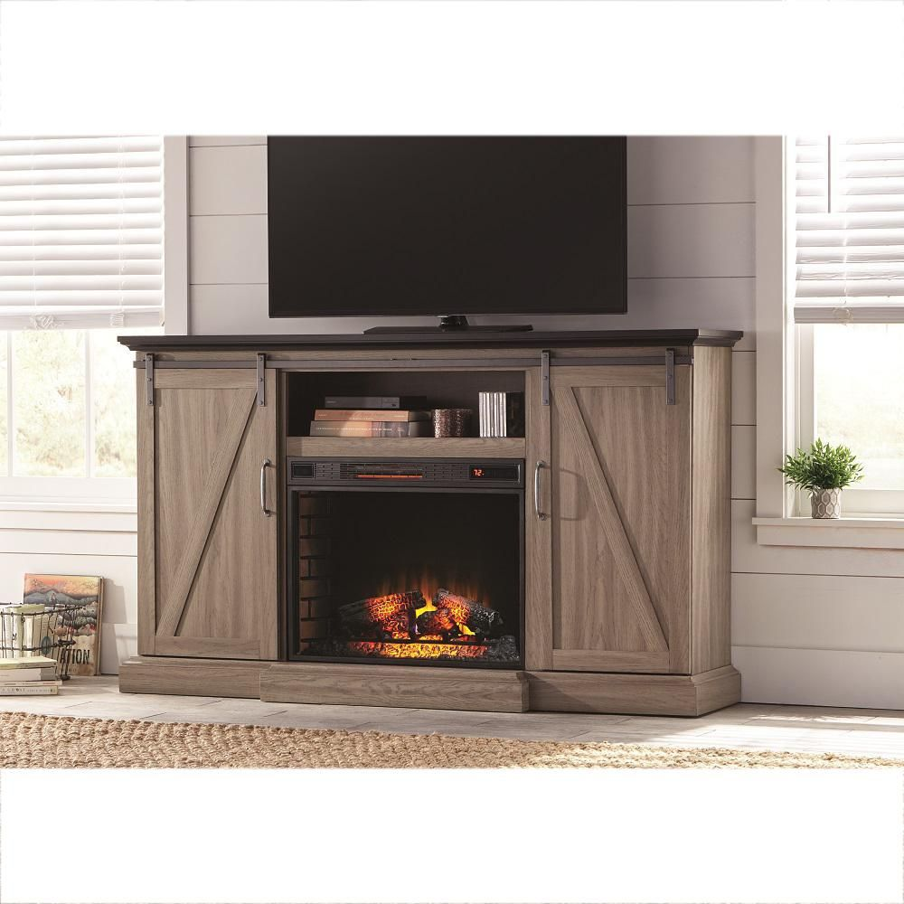 Home Decorators Collection Chestnut Hill 68 In Tv Stand Electric Fireplace With Sliding Barn Door In Ash 102945 The Home Depot Electric Fireplace Tv Stand Fireplace Tv Stand Barn Door Tv Console