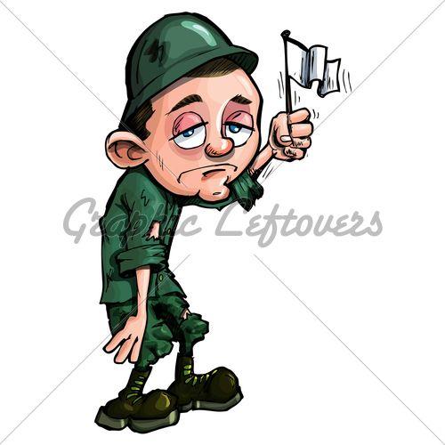 Cartoon Soldier Waving A White Flag White Flag Cartoon Soldier
