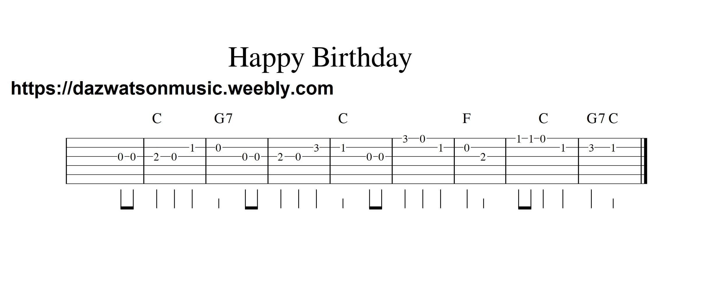 Happy Birthday Easy Guitar Tab With Images Guitar Tabs Easy
