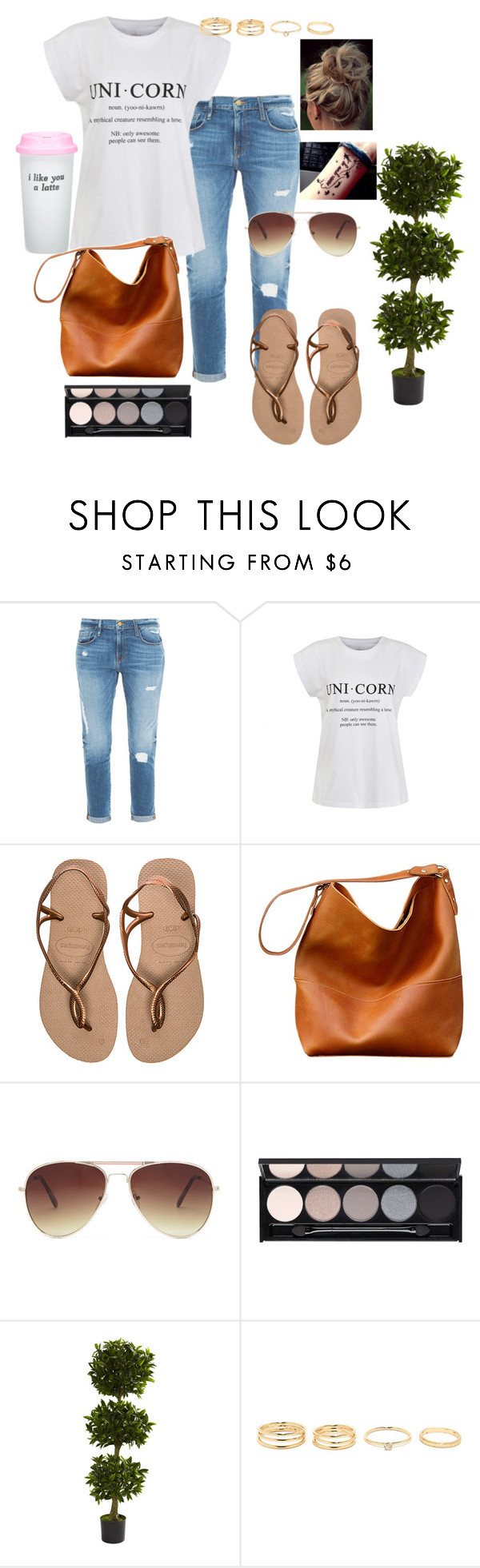 """""""Untitled #119"""" by toiees ❤ liked on Polyvore featuring Frame Denim, Ally Fashion, Havaianas, Forever 21, Witchery, Nearly Natural, Bow & Drape, women's clothing, women and female"""