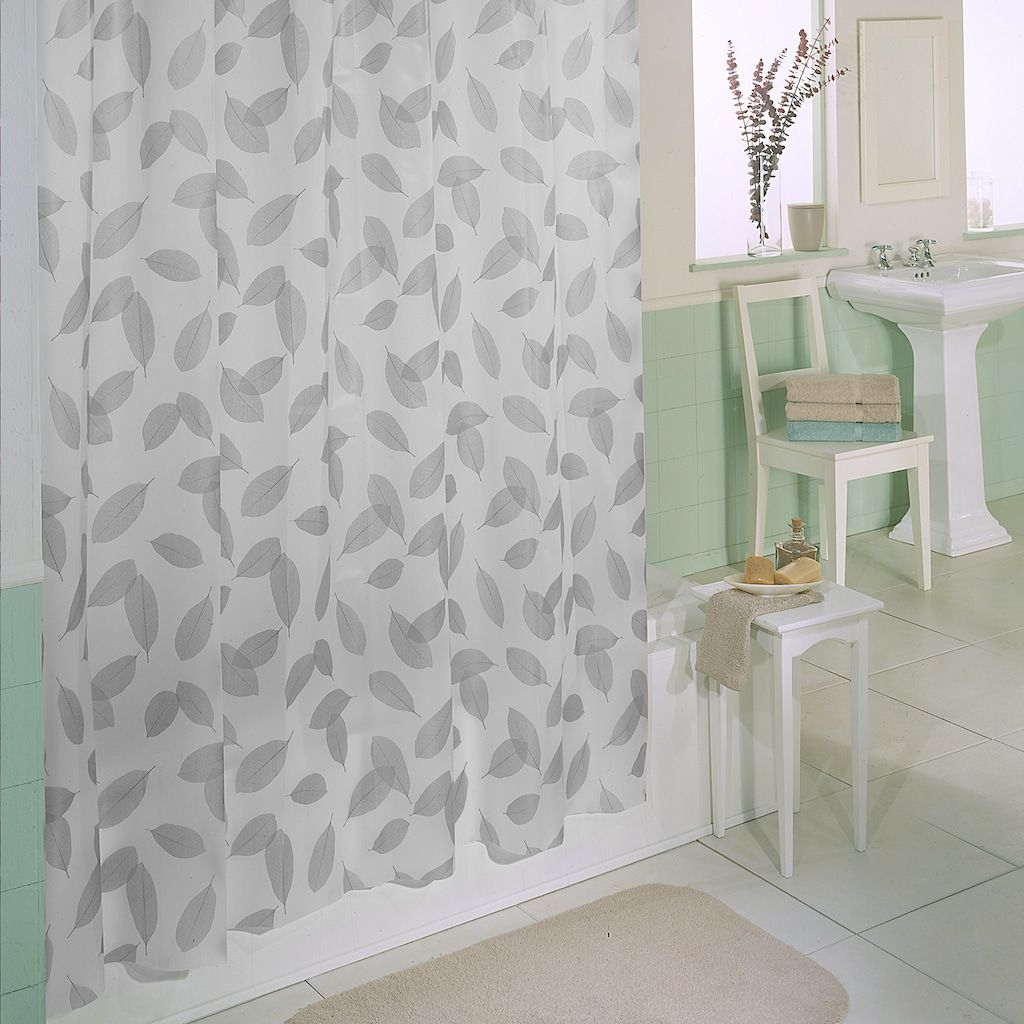 Excell Modern Leaf Shower Curtain Med Green Silver Shower