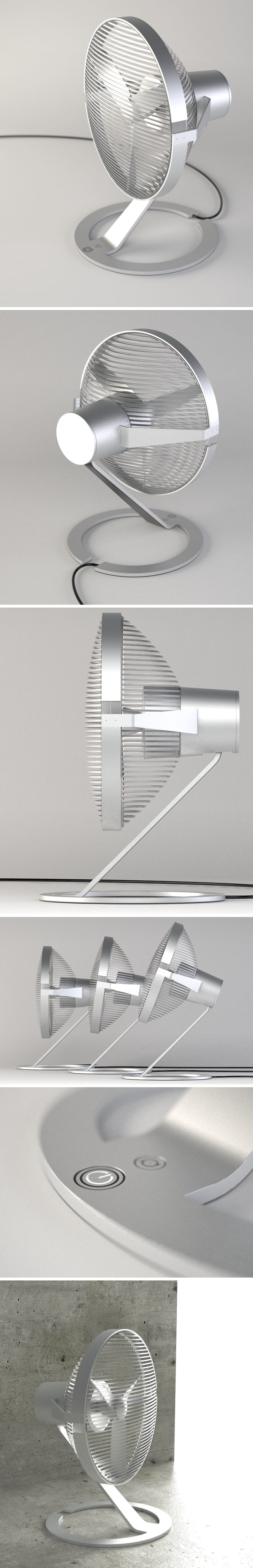 Design of a fan with a high-tech rationalist aesthetic, the body is aluminum while the grid is in satin Polycarbonate.