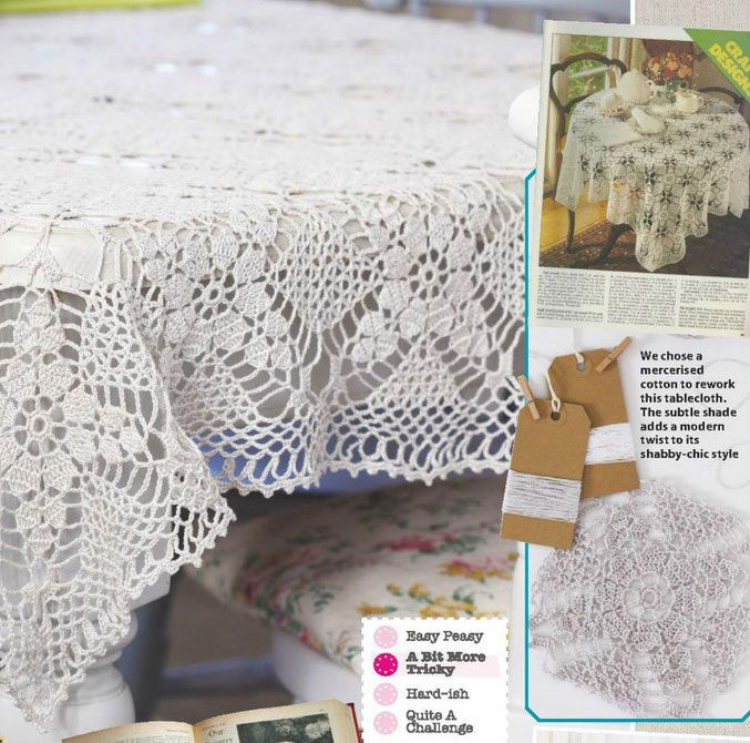 Vintage cotton tablecloth crochet pattern