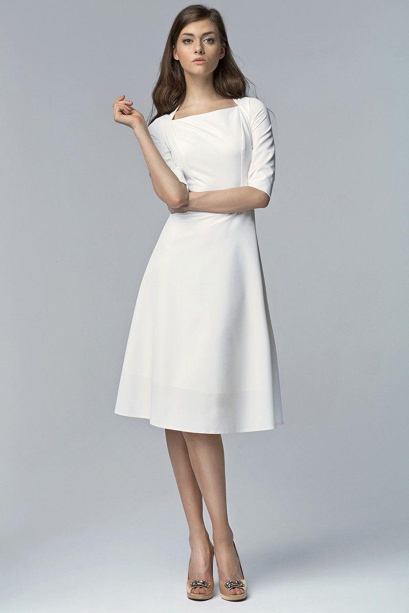 Margherita Kleid Klassisch Midi Ecru - Kleider - Mode  Kleider