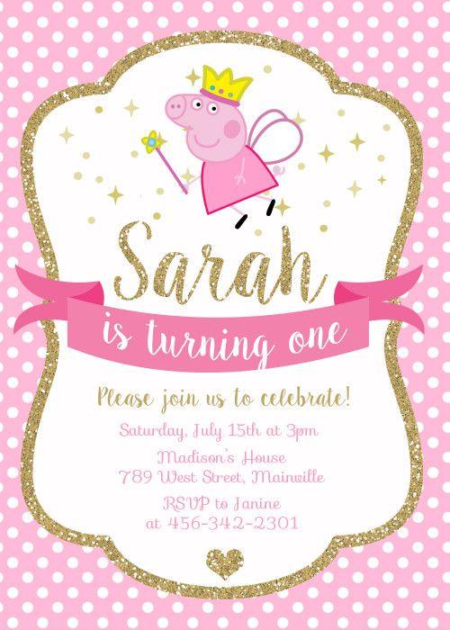 Peppa Pig Princess Birthday Party Invitation