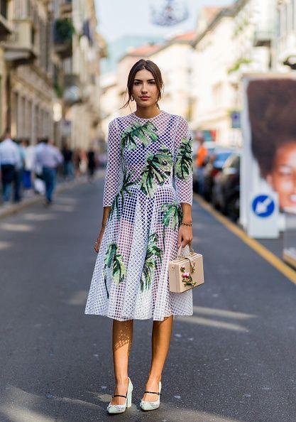 Patricia Manfield wearing a white sheer dress during Milan Fashion Week  Spring/Summer 2017 on