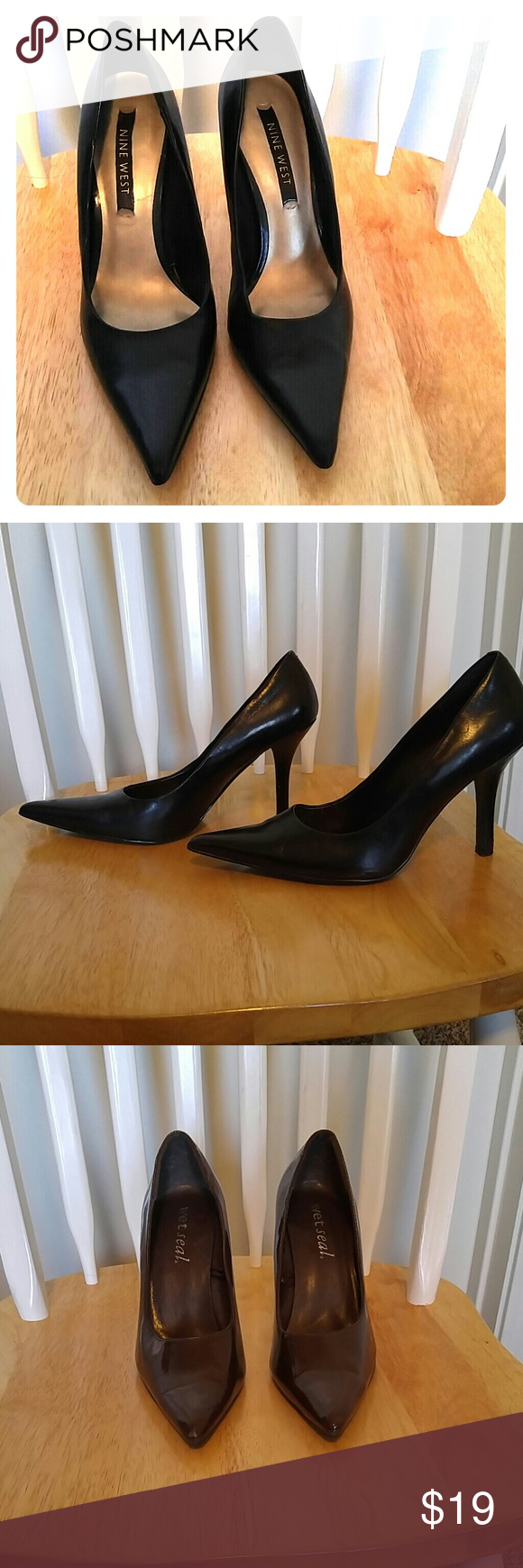 Bundle 2 pairs of heels -Blk size 7 Brown size 7.5 Bundle deal Black Nine west shoe size 7 and Brown Wet Seal heel size 7.5 both hardly used Nine West & Wet Seal Shoes Heels