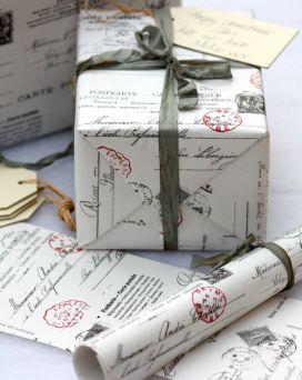 'Vintage Postcard' Gift Wrap - 3 metres