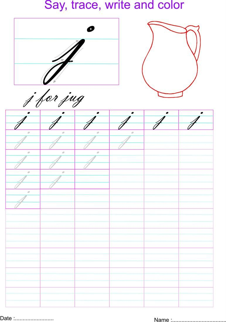 cursive small letter j worksheet | printables | pinterest | cursive