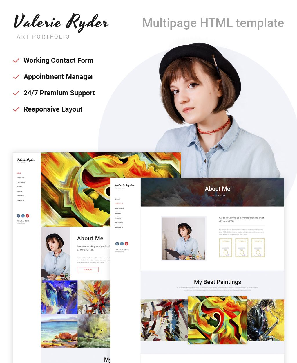 Artist Portfolio Responsive HTML Template New Website Templates - Artist portfolio website templates