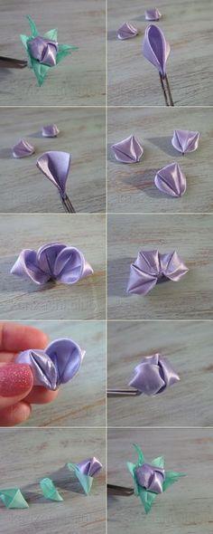 kanzashi ribbon flower making tutorial so cute mightylinksfo