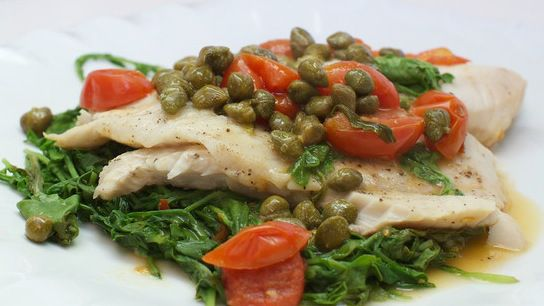 tilapia w arugula capers  tomato  healthy recipes