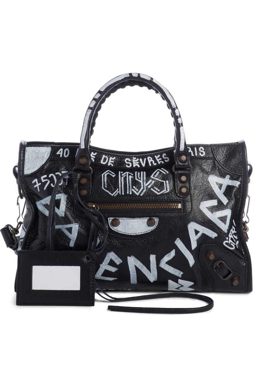 Balenciaga Small City Graffiti Leather Tote  8f47ebd8ab9fb