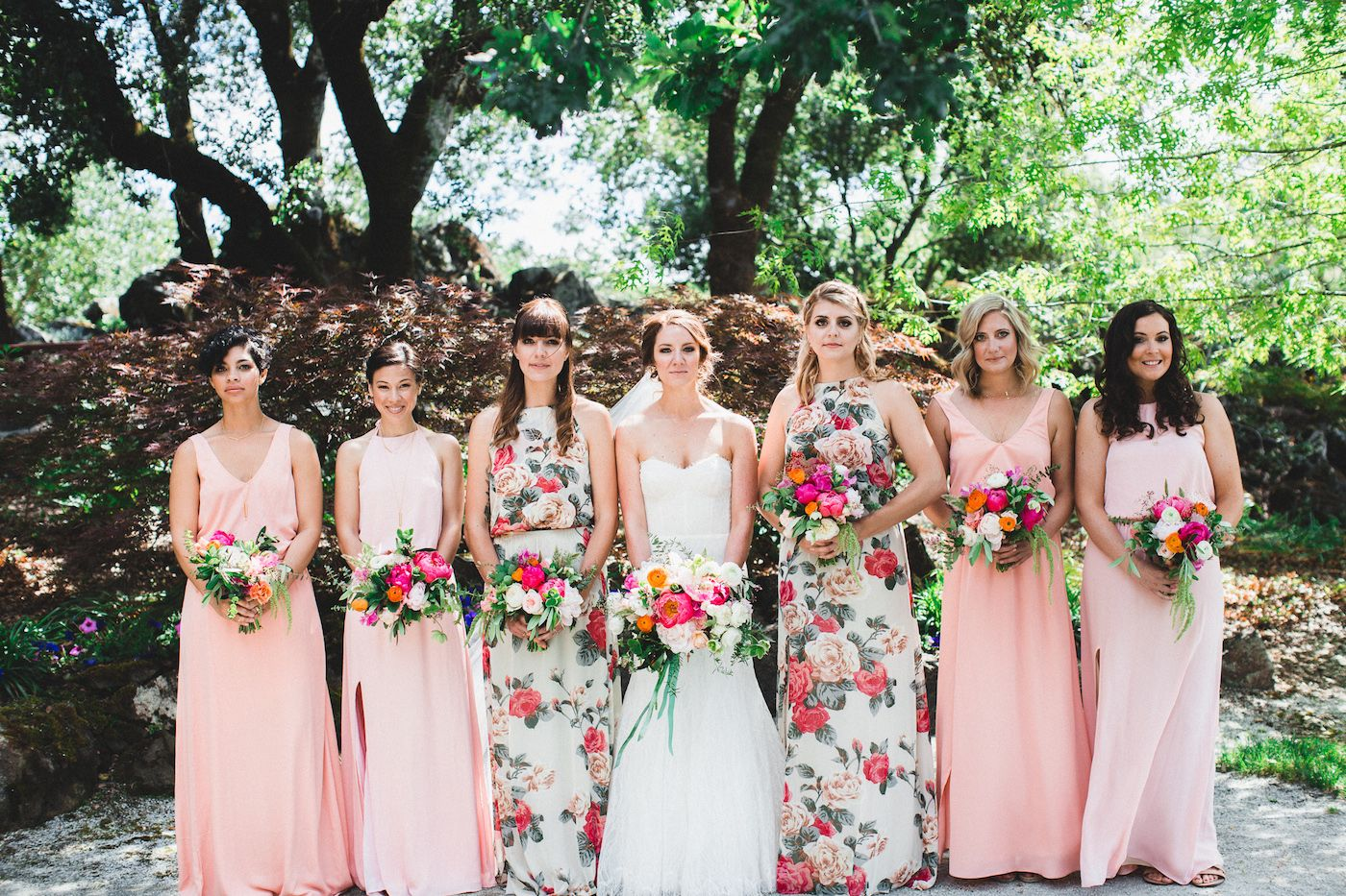Vibrant winery wedding in california floral bridesmaid dresses floral bridesmaid dresses photo by studio castillero httpruffledblog ombrellifo Image collections