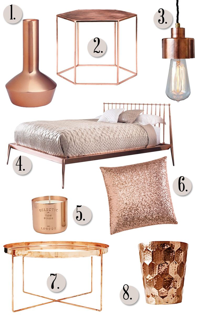 Rose gold decor for bedroom woodwork samples for Rosegold dekoration