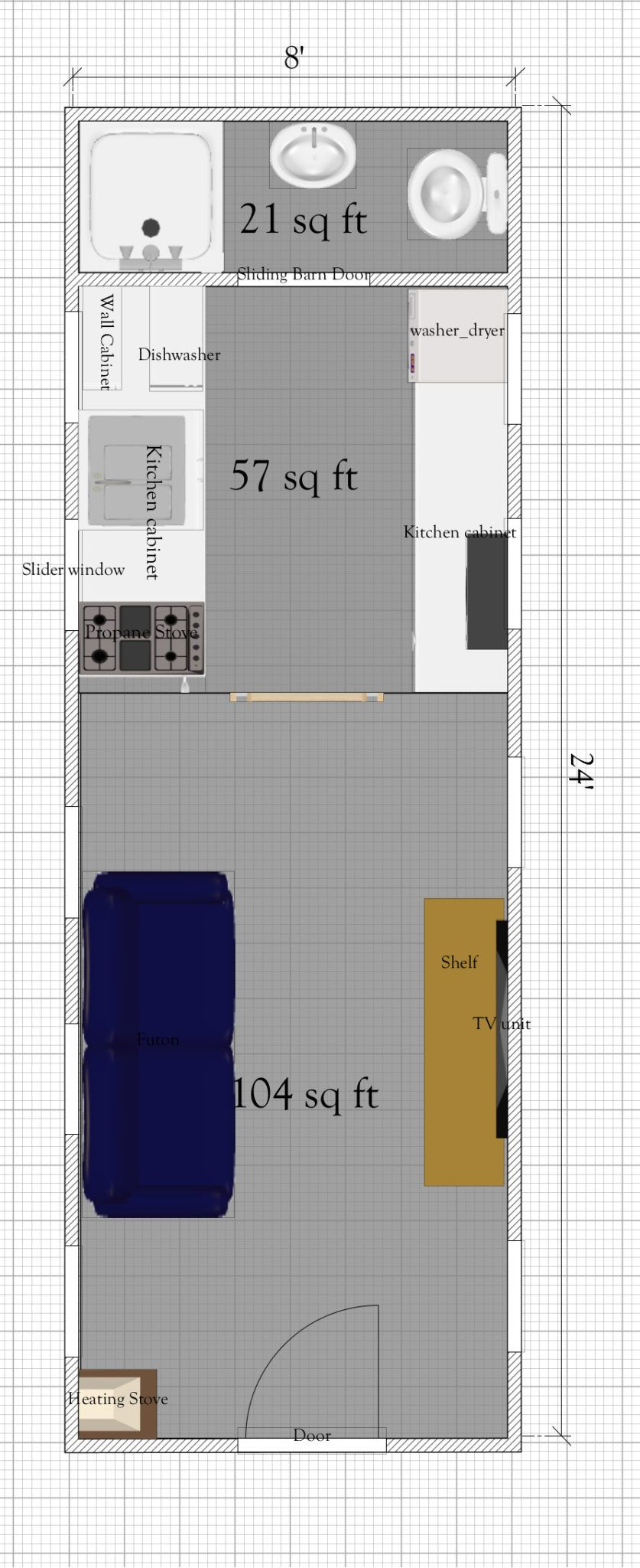 Free Tiny House Plan With Loft Under 200 Sq Ft In 2020 Tiny Houses Plans With Loft House Plan With Loft Tiny House Loft