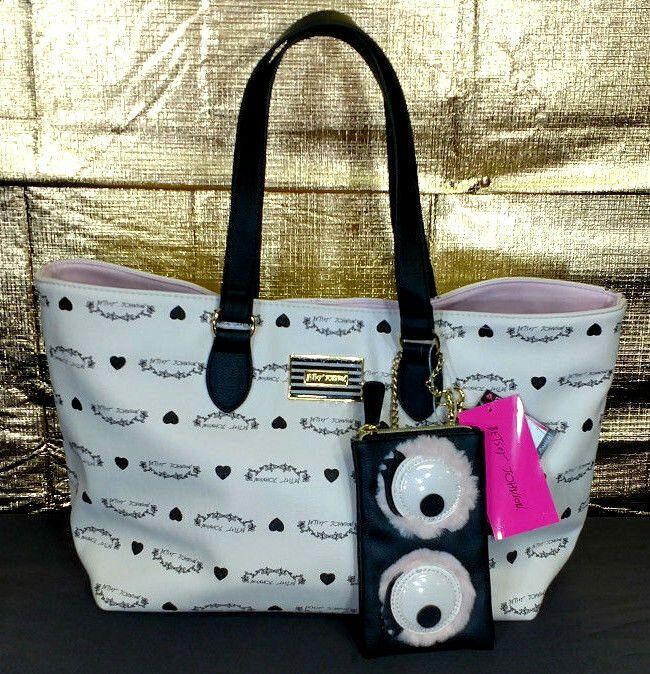 Betsey Johnson Tote Bag Large Purse White Black Logo Banner Sunglass Case NWT