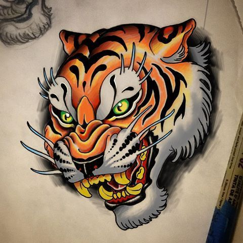 Kartinki Po Zaprosu Neo Traditional Tiger Traditional Tiger Tattoo Tiger Tattoo Design Japanese Tiger Tattoo