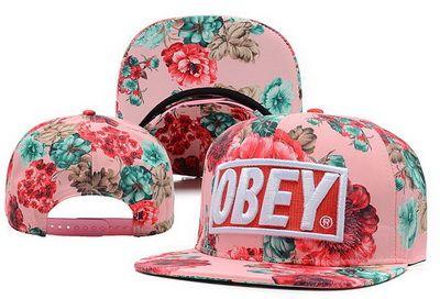 Pink Floral Obey Snapback