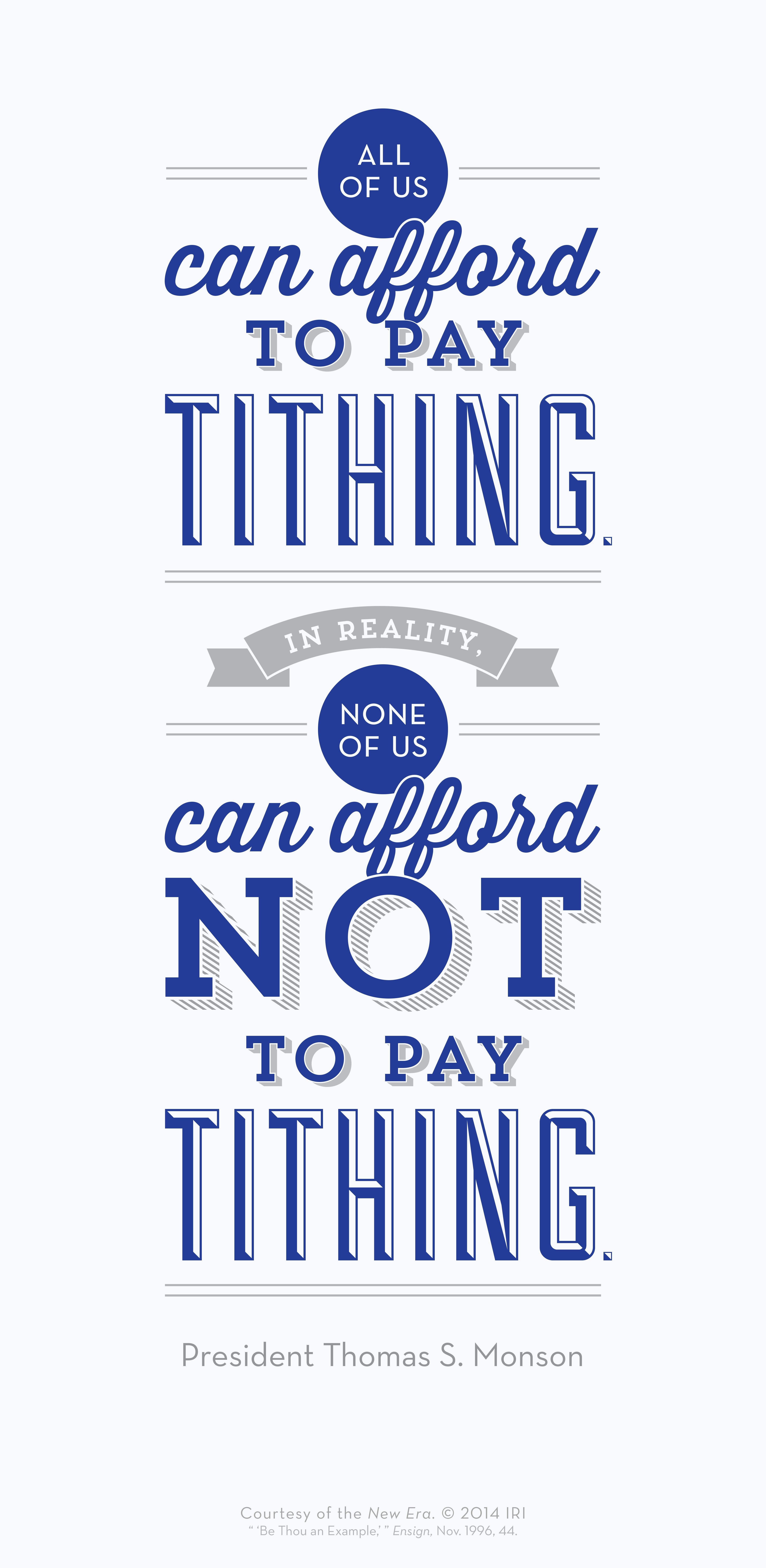 All of us can afford to pay tithing in reality none of us