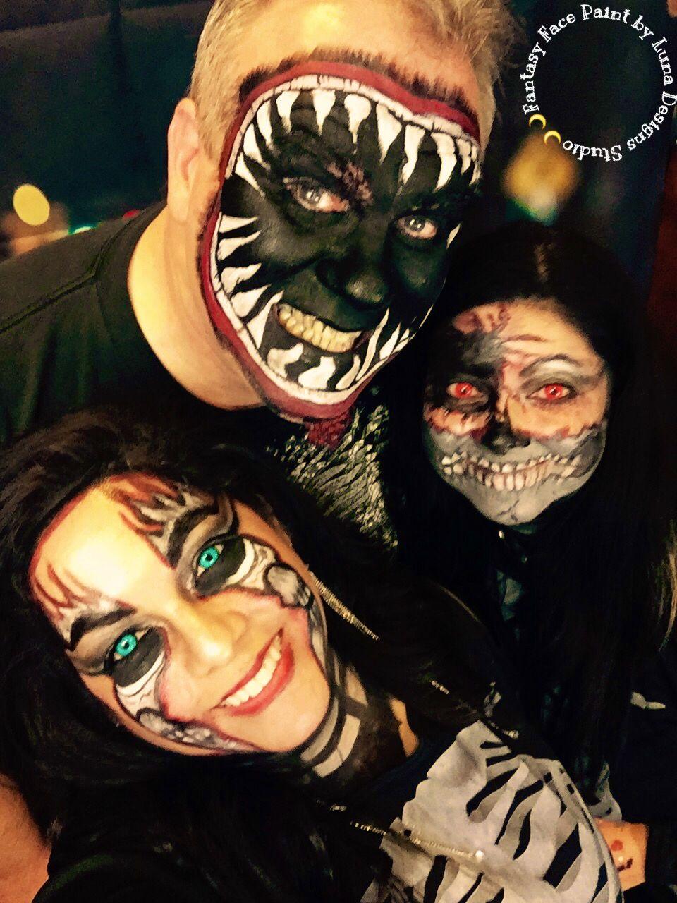 "Extreme Halloween Custom FacePaint By Luna Designs Studio ""Let Luna Create A Beautiful Work of Art For You or On You"" #LoveMyLuna #halloween #halloween2015 #halloweenmskeup"