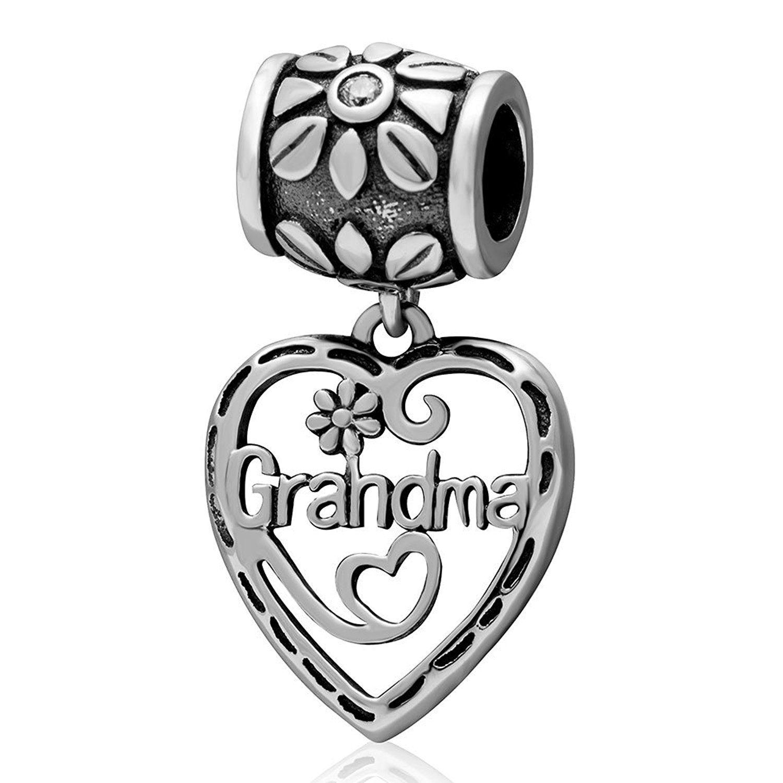 Grandma charms sterling silver heart grandma dangle beadgreat