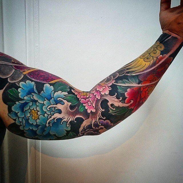 """Photo of Japanese Ink auf Instagram: """"Japanese tattoo sleeve by @ daniel.ekdahl. #unterbewertet #japanischesTattoo #irezumi #tebori #colortattoo #colorfultattoo # cooltattoo… """""""