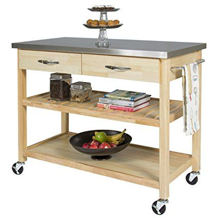 Charmant BCP Natural Wood Kitchen Island Utility Cart With Stainless Steel Top  Restaurant