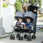 Double Umbrella Stroller Twins or Second Child Lightweight Foldable Tandem Black #bestumbrella