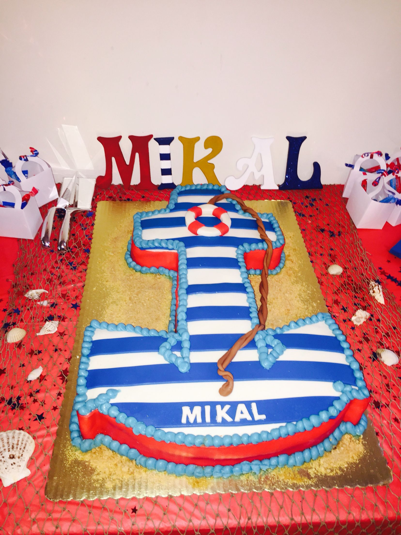 Baby Shower Nautical Anchor Themed Cake Sheet Cakes