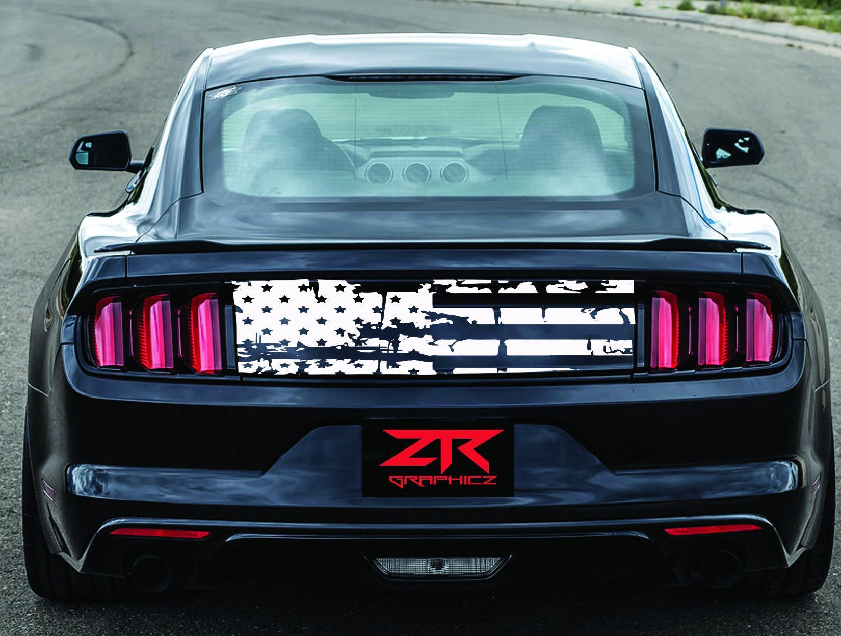 2005 2017 ford mustang distressed flag trunk lid decal