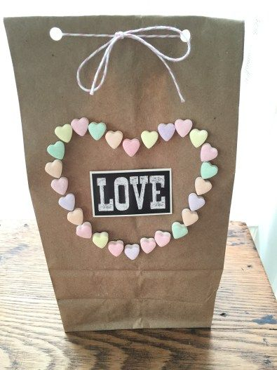 candy hearts on gift bag