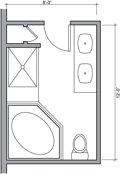 Bathroom Design Layout Shower Tub Double Sink Bat Flooring
