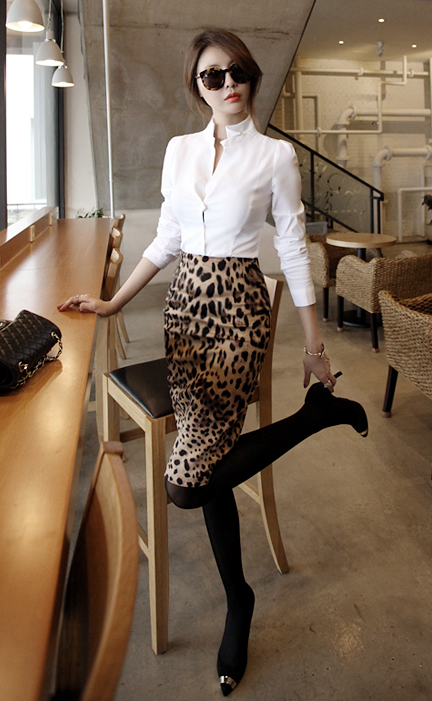 986b0cb8fd2 white button down+ leopard skirt + black tights + heels perfect I would  just add some jewelry