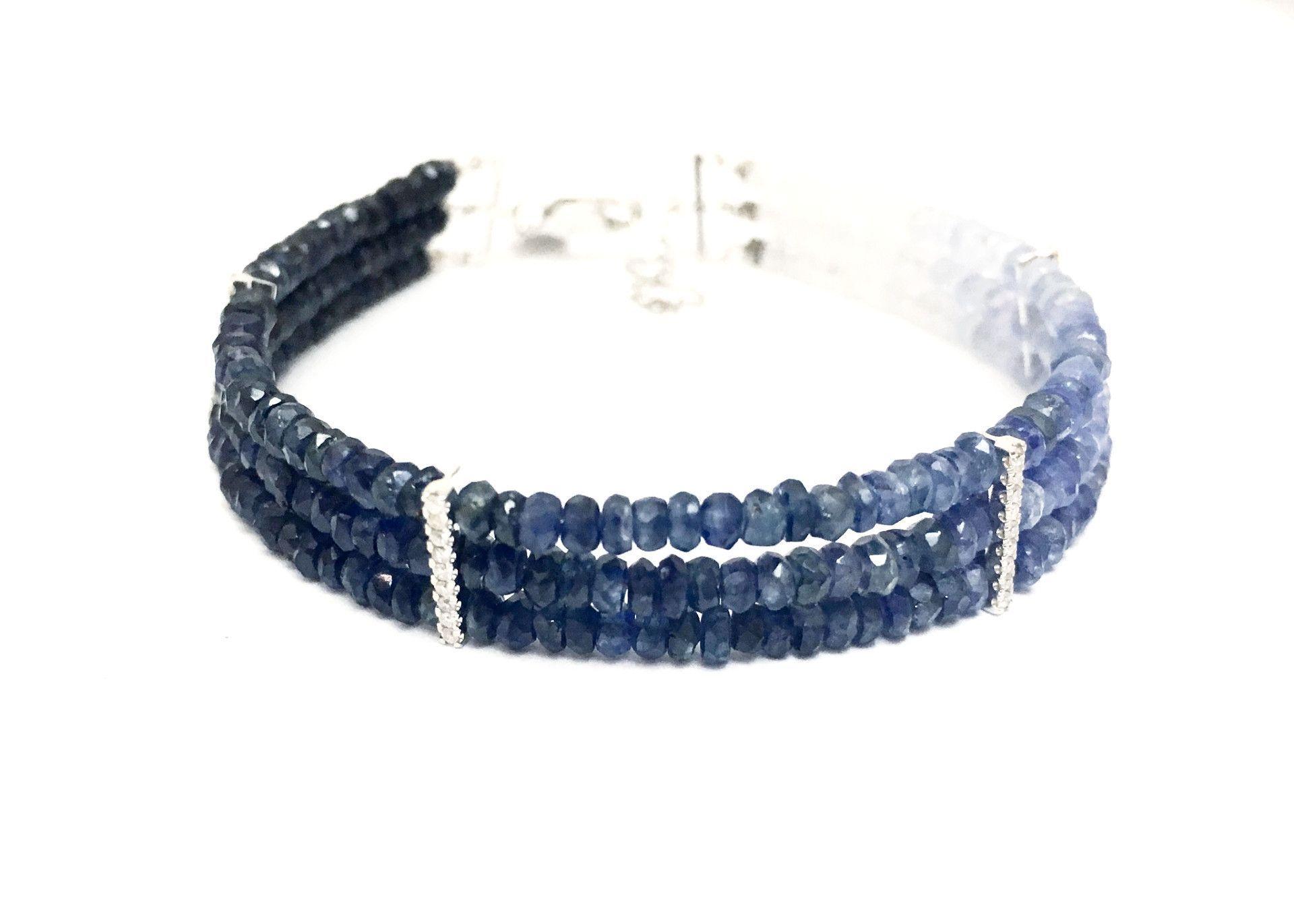 Meira T 14K Blue Sapphire Ombre Bead Diamond Bracelet | Products ...