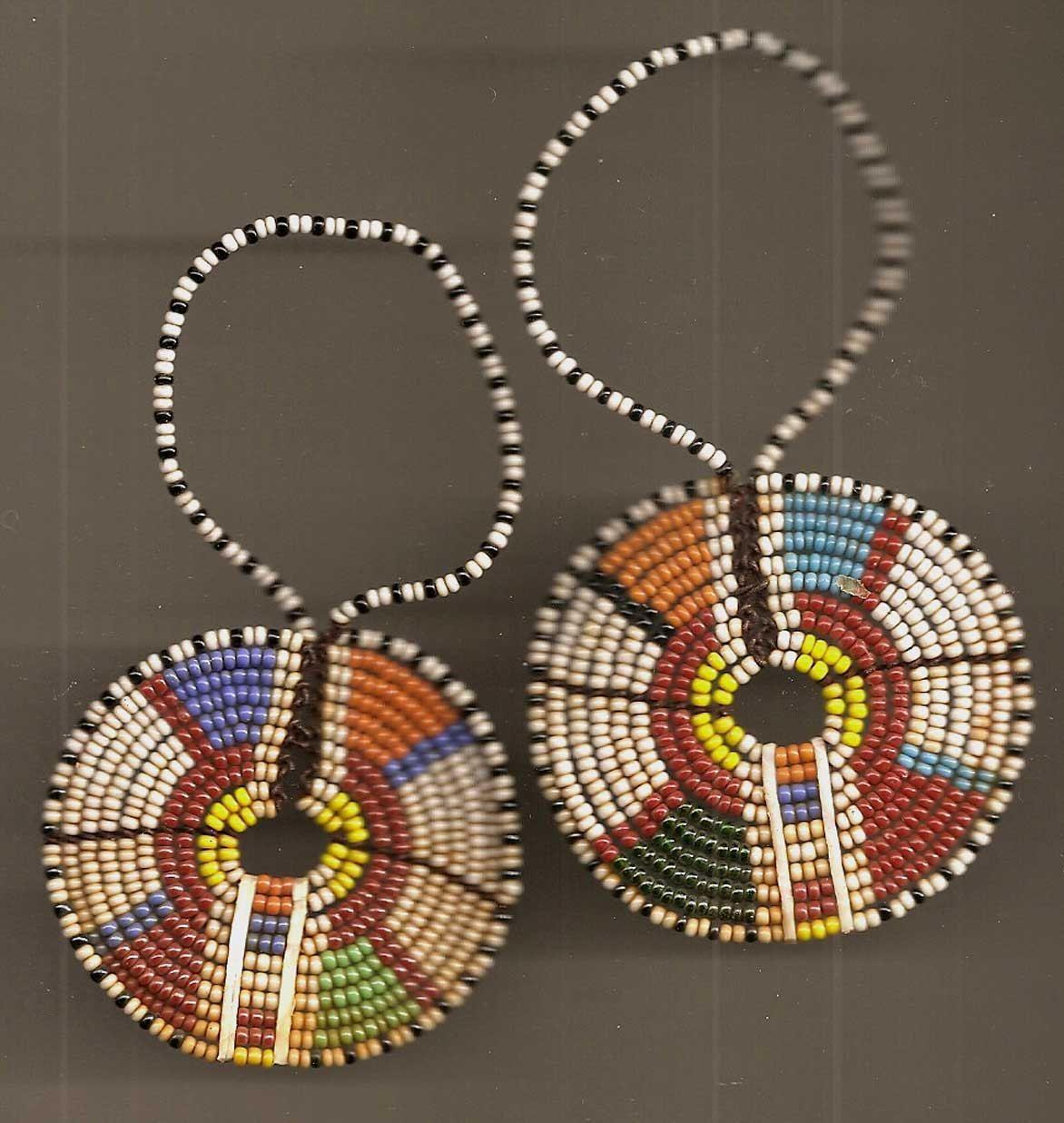 Vintage African Beadwork Earrings Pendants Curtain Tie