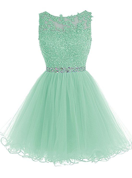 daadd8c30e3 Amazon.com  Tideclothes Short Beaded Prom Dress Tulle Applique Evening Dress   Clothing