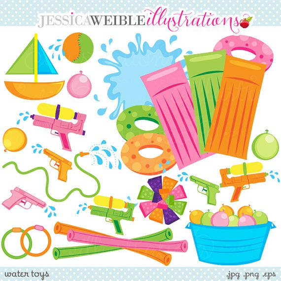 10ee5c25f Water Toys Cute Digital Clipart Commercial Use by JWIllustrations