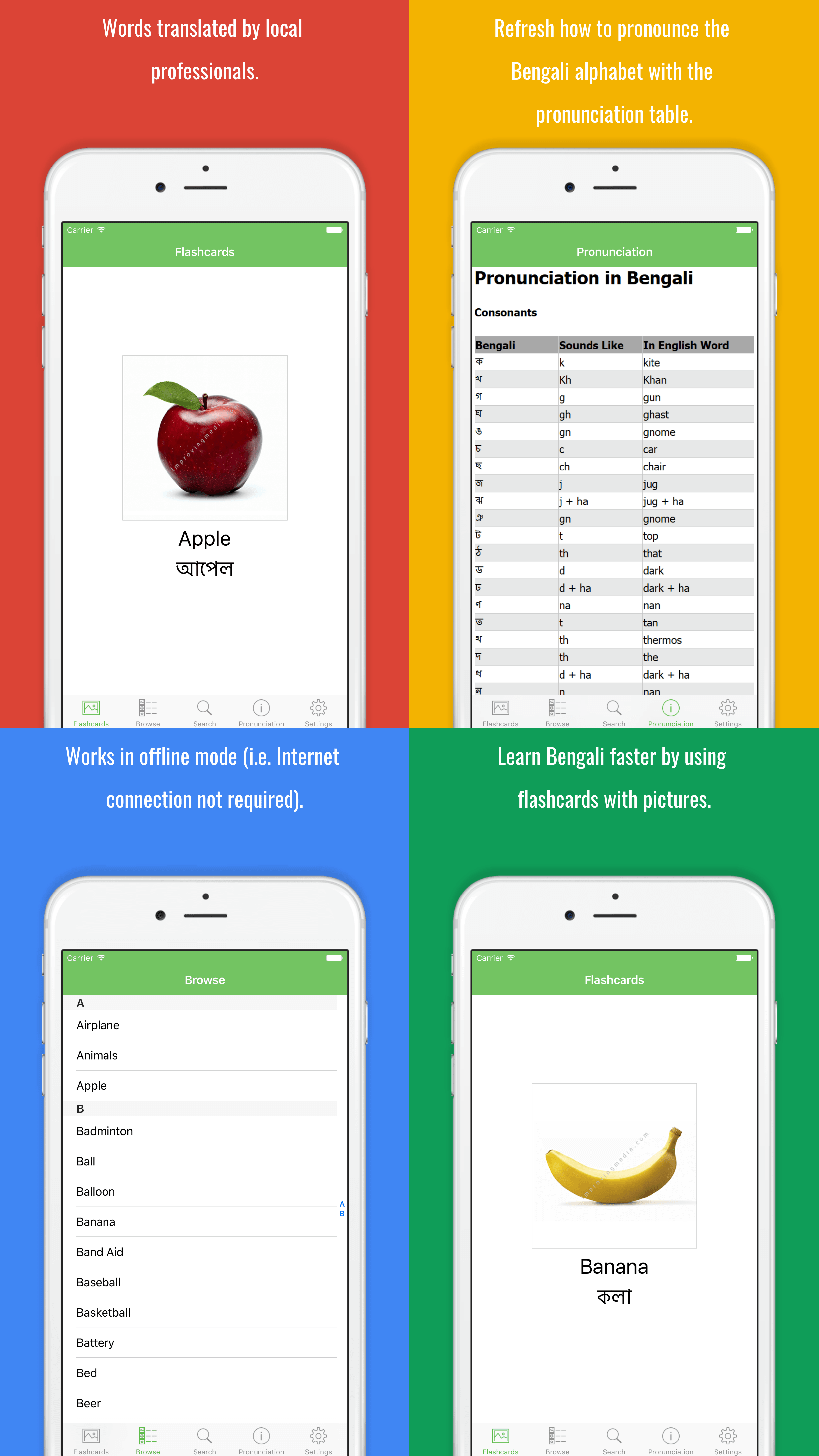 Learn Bengali Faster By Using Flashcards With Pictures
