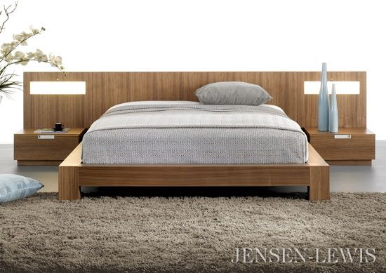 Stella flat panel bed with lighted nightstands nightstands for Lighted platform bed
