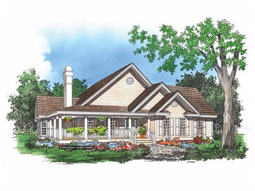 Eplans House Plan: Decorative columns, multi-pane windows and a wraparound porch with a balustrade  create an exceptional exterior with this country-style home, derived from a  best-selling bungalow design. The planned-to-p