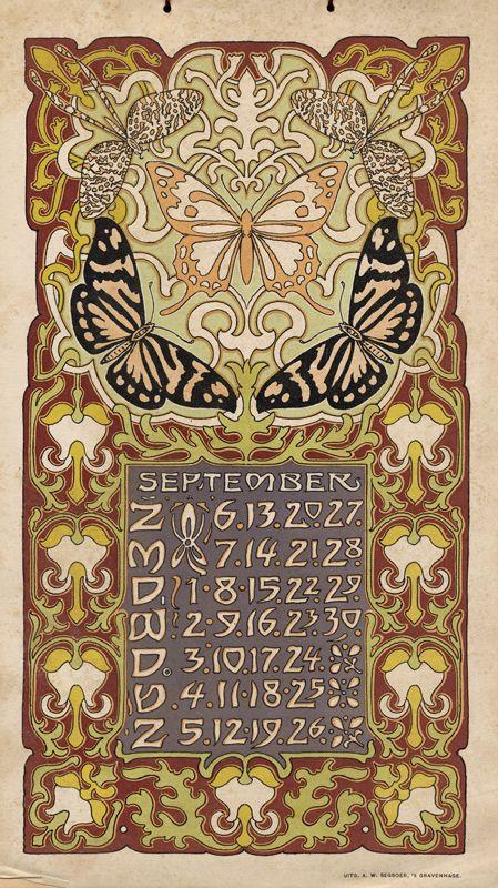 September Art Nouveau / Jugendstil Calendar L. Visser, 1903