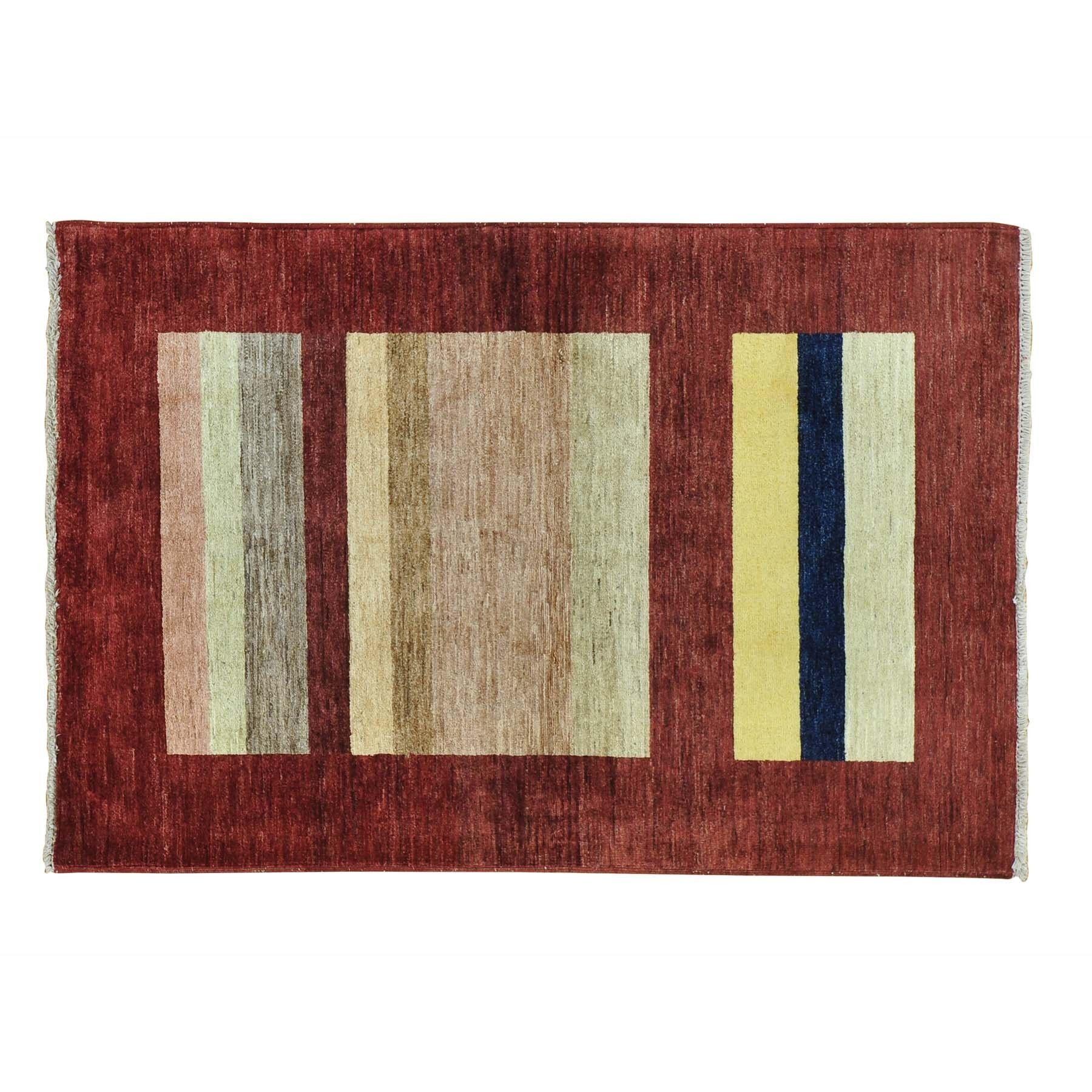 "1800getarug Peshawar Gabbeh Wool Handmade Oriental Rug (4' x 5'10) (Exact Size: 4'0"" x 5'10""), Multi, Size 4' x 6'"