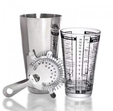 3 Piece Bar Cocktail Shaker Kit