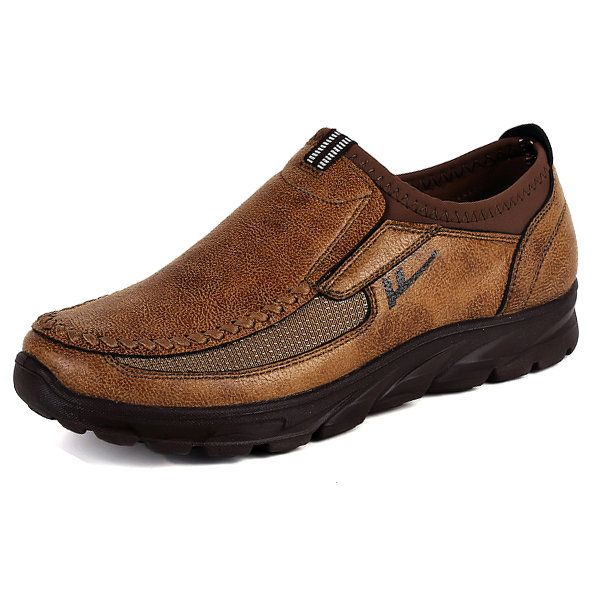 Slip-On Shoes Men Hand Stitching Cow Leather Non-Slip Casual Shoes Slip-On Sneaker Walking Loafer Boat Shoe Brown Cow Leather 6.5 D(M) US