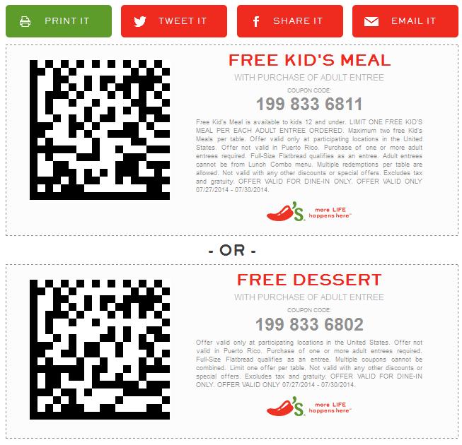 Free Printable Coupons Chilis